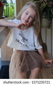 little girl with long hair portrait