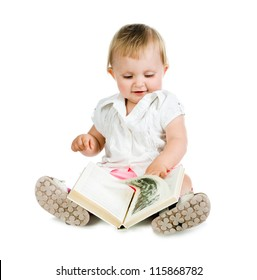 little girl looking a book. white background