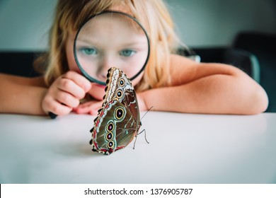 Little girl looking at butterfy through magnifying glass