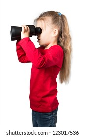 Little Girl Looking through Binoculars, Isolated on White