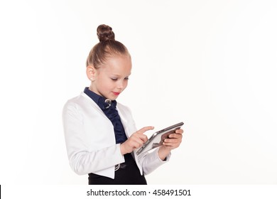 the little girl looks at business Lady tablet computer