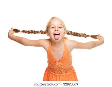 Little girl making funny face