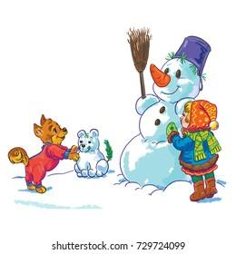 little girl making a snowman