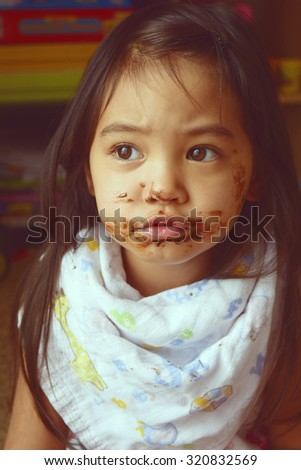 Messy chocolate face