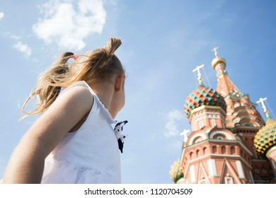 little girl in Moscow on red square