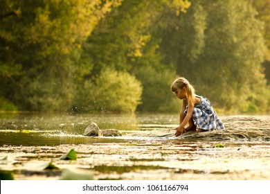 a little girl in the nature