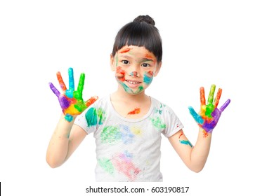 Little girl naughty with colorful paint