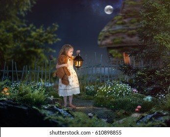 The little girl in the night in a beautiful magical forest. Girl holding an antique lantern and a toy bear. Children's fairy tale