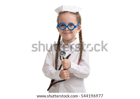 5daf4dfda2d4f Little Girl Nurse Costume Seasonal Flu Stock Photo (Edit Now ...