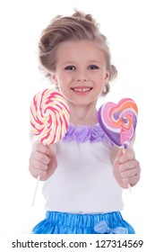 Little girl offer two lollipops