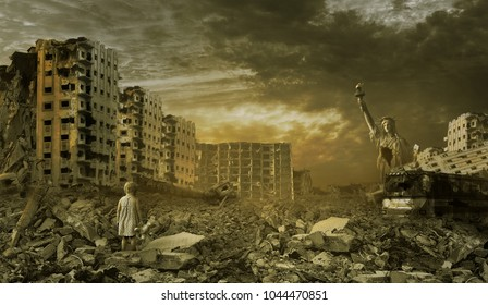 little girl on the background of the ruined city.