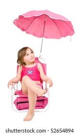 little girl on the beach isolated