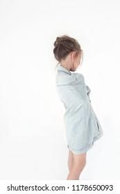 Little girl on cyclorama