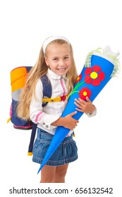 little girl on her first day of school