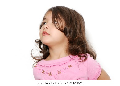The little girl on a light background. Portrait