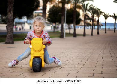 little girl on a motorcycle. bikers