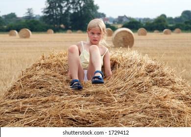 Little girl on the stubble