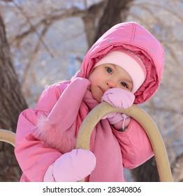 Little girl on a walk.
