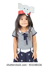 Little girl on white background