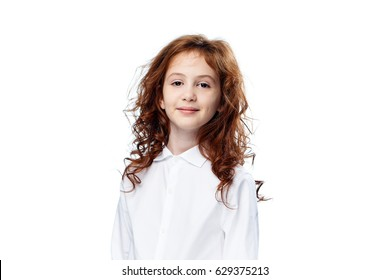 little girl on white background