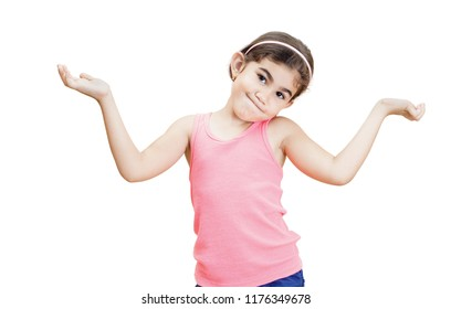 Little girl open her arms in a gesture of uncertainty islolated on white.