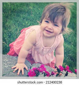 Little Girl outside with flowers - instagram