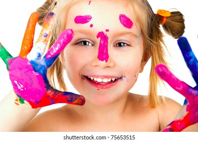 little girl with paint over white background