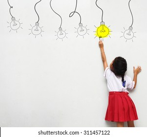 little girl with paintbrush creative drawing light bulb ideas on wall, back view