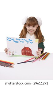 Little girl is painting her family in bright colours. Schoolgirl is  drawing  in pencil. Schoolgirl is holding the picture. Isolated over white background.