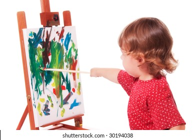 Little Girl Painting on Easel