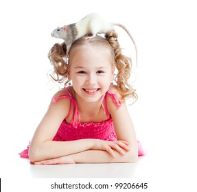 little girl with pet rat on her head