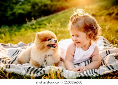 Little girl and pets. The girl and a dog lying on a blanket on a green park. Sunset time. Pedigree dogs Spitz. Funny animals. Outdoor picnic.