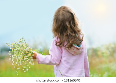 Little girl picking flowers in the meadow and looking at sun. Back to camera