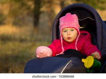 Little girl in pink cap in stroller in nature.