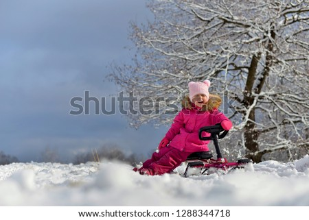 c1047ea4d Little Girl Pink Down Jacket Sitting Stock Photo (Edit Now ...