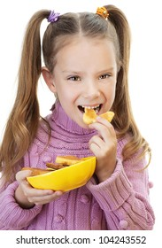 Little girl in pink sweater holding yellow plate of cookies in form of butterflies, isolated on white background.