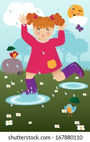 Little Girl Playing in April Showers Puddles