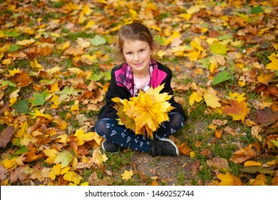 The little girl is playing with autumn leaves at the park.