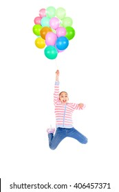 little girl playing with balloons isolated in white