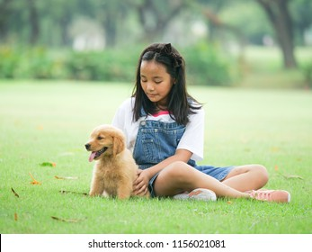 Little girl playing with a cute golden retriever dog in the park.