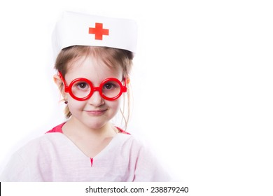little girl playing in doctor