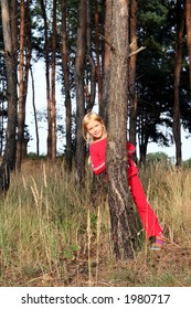 Little girl playing hide-and-seek in the pine forest