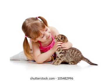 little girl playing with kitten isolated on white background