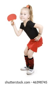 Little girl playing  ping-pong (Table tennis).