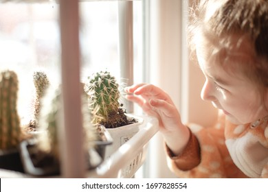 A little girl in plush pajamas with a hood plays on the window behind the curtain. A girl walks at home on a window during a coronavirus epidemic in self-isolation.
