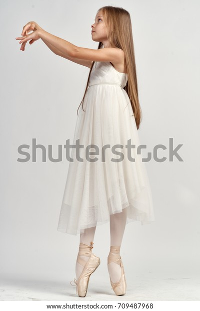 Little Girl Pointe Shoes Ballerina
