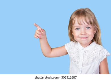Little girl pointing finger