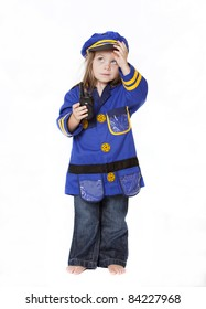Little Girl in Police Costume Isolated on White
