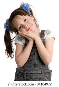 Little girl with pony tail put head on hands, isolated on white