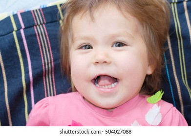 Little girl portrait, happy cute laughing very happy